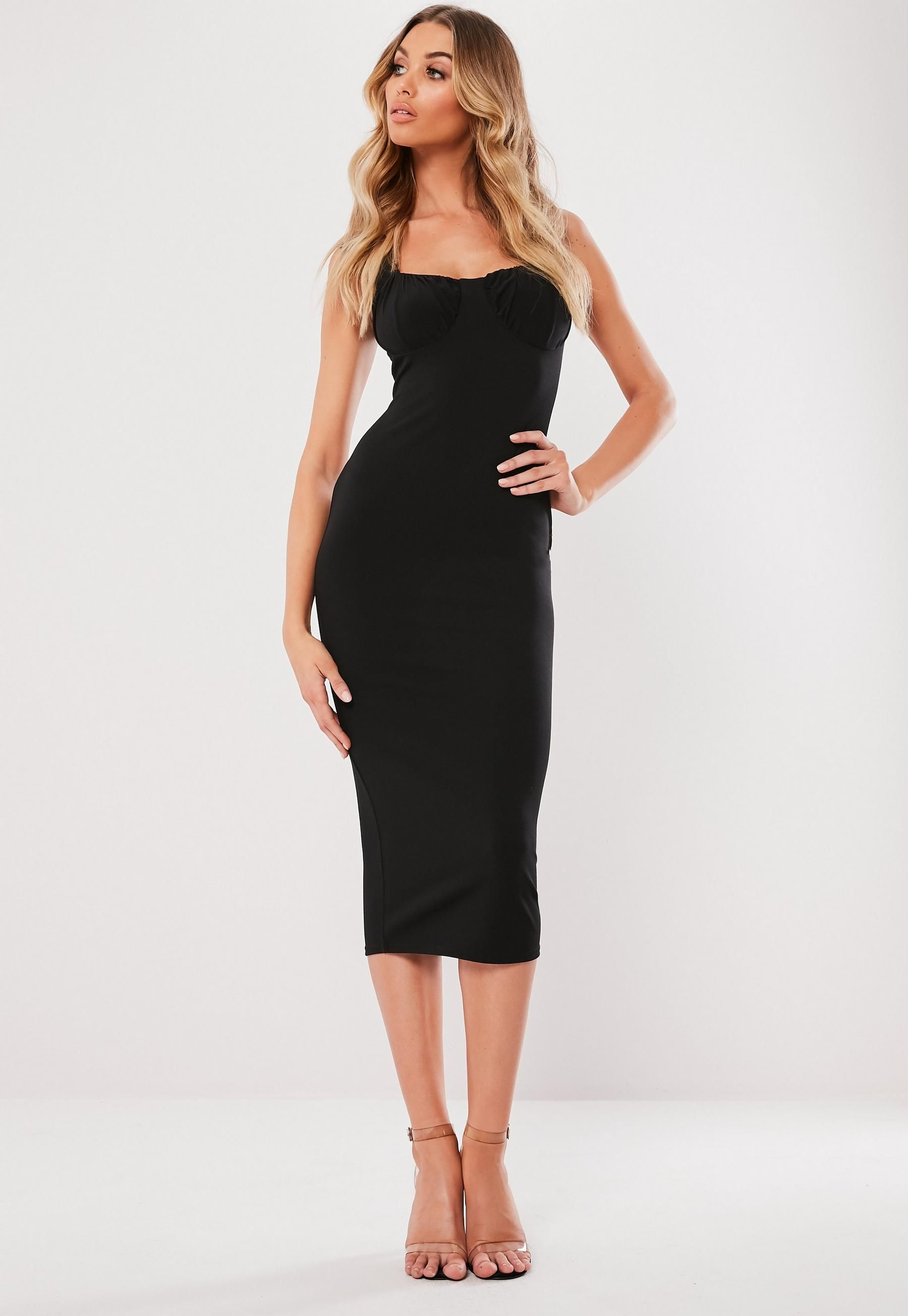 321c277074d3 Missguided - Black Ruched Cup Bodycon Midi Dress in 2019 | 20th ...