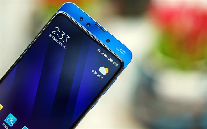 Download Wallpapers Xiaomi Mi Mix 3 Blue Case 2018 Smartphone Menu Xiaomi Besthqwallpapers Com Blue Cases Office Wall Graphics Nursery Wall Stickers