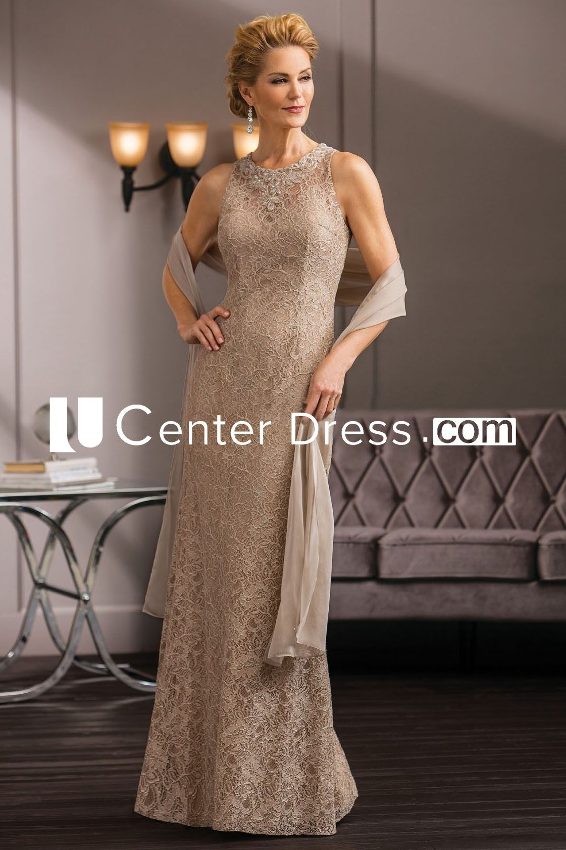 121 29 Vintage High Neck Sleeveless Long Lace Mother Of The Groom Dress With Shawl