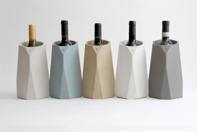 Corvi Concrete wine cooler. Color palette, faceted form and concrete material are all on trend. #Feb2016