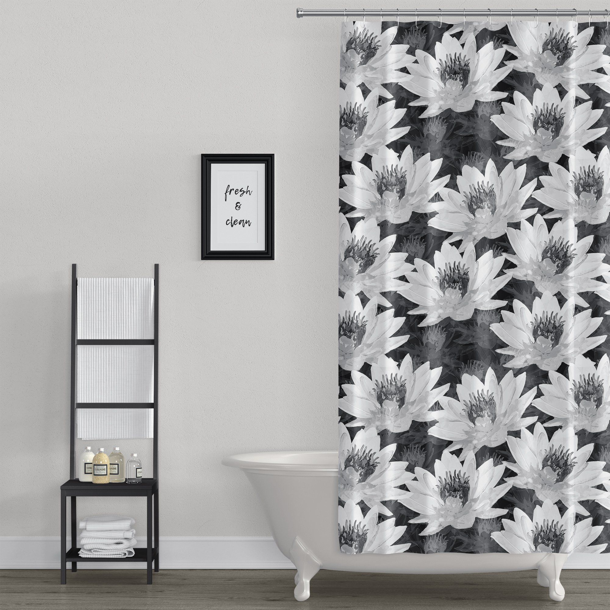 Lotus Flower Black And White Spa Design Shower Curtain In 2020