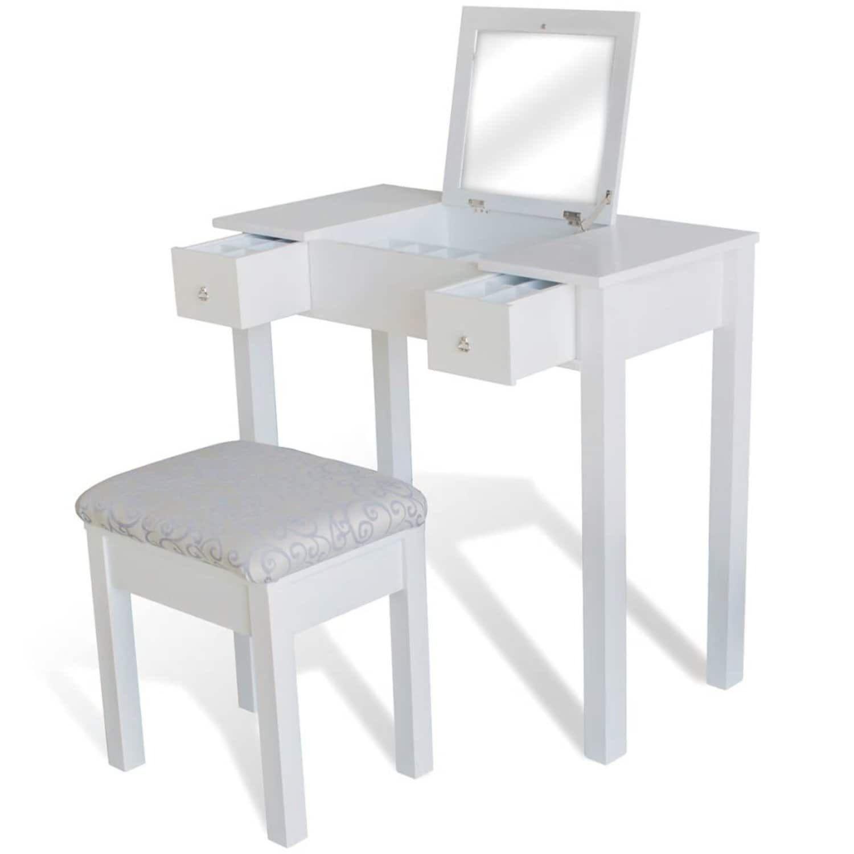 vidaXL toiletbord med taburet og vippespejl hvid