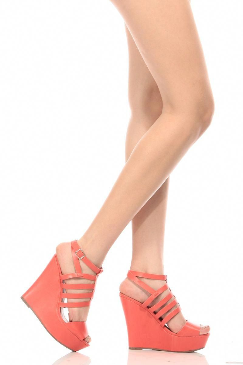 60d2bb994664 Coral Faux Leather Caged Peep Toe Wedges   Cicihot Wedges Shoes Store Wedge  Shoes