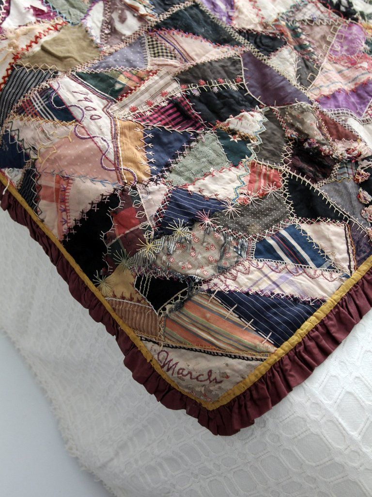 Antique double side crazy patchwork quilt circa in