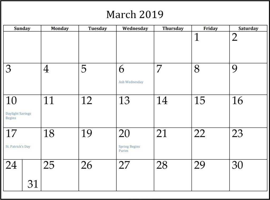 Free March 2020 Calendar Pdf Printable Template 2019 Calendar