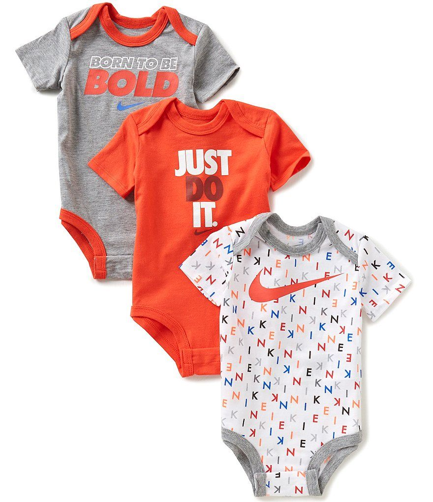 Nike Baby Boys Newborn 12 Months Bodysuit Three Pack Baby Outfits Newborn Baby Boy Clothes Nike Newborn Boy Clothes