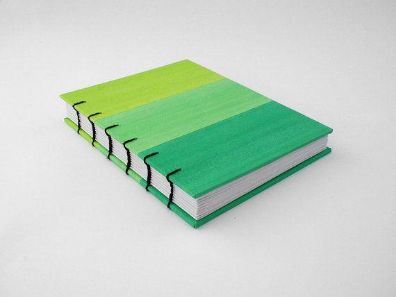 Cuaderno Verde Pequeno Libreta Hecha A Mano Cuaderno Con Hojas