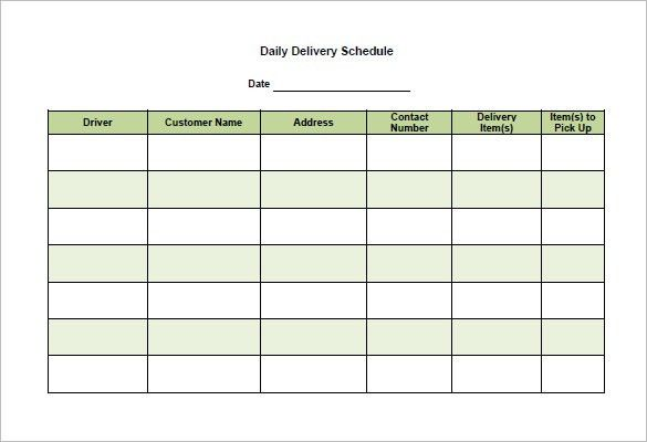 Delivery Schedule Template  Free Word Excel Pdf Format Template