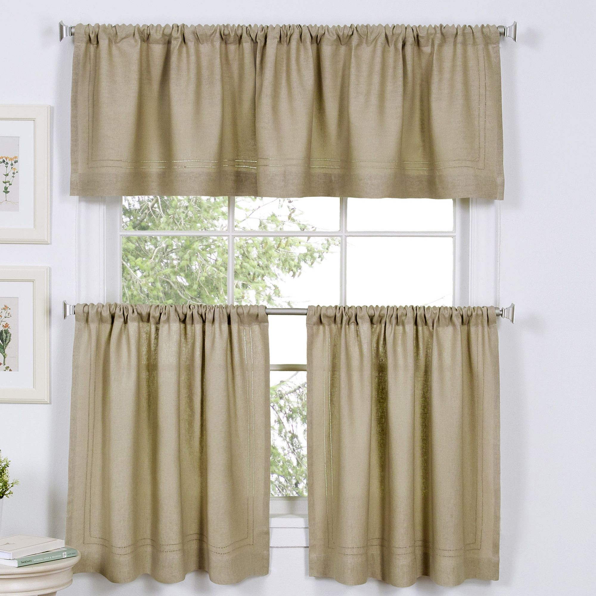 2 Piece Ruffle Rod Pocket Valance Set Elrene Home Fashions