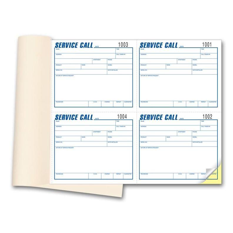 Service Call Book Prints Form Invoicing