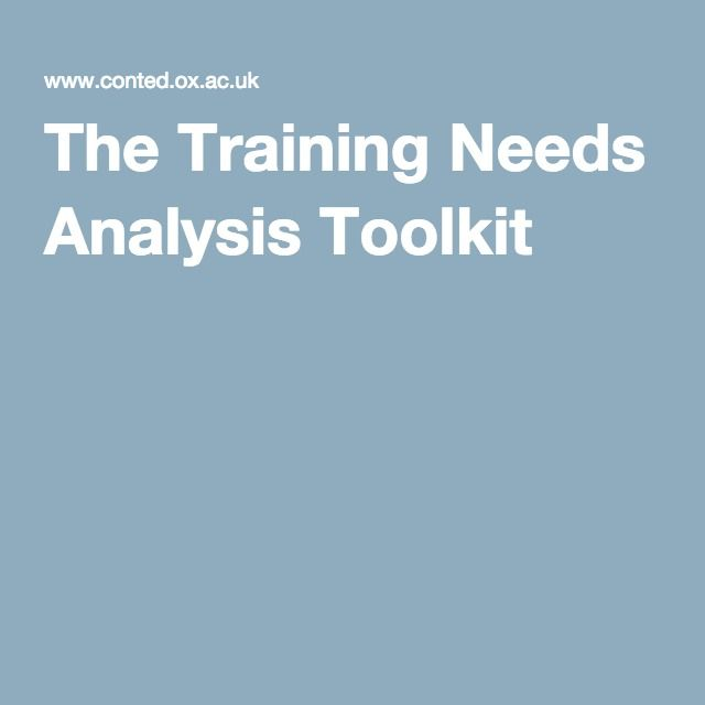The Training Needs Analysis Toolkit Learning Needs Analysis - needs analysis