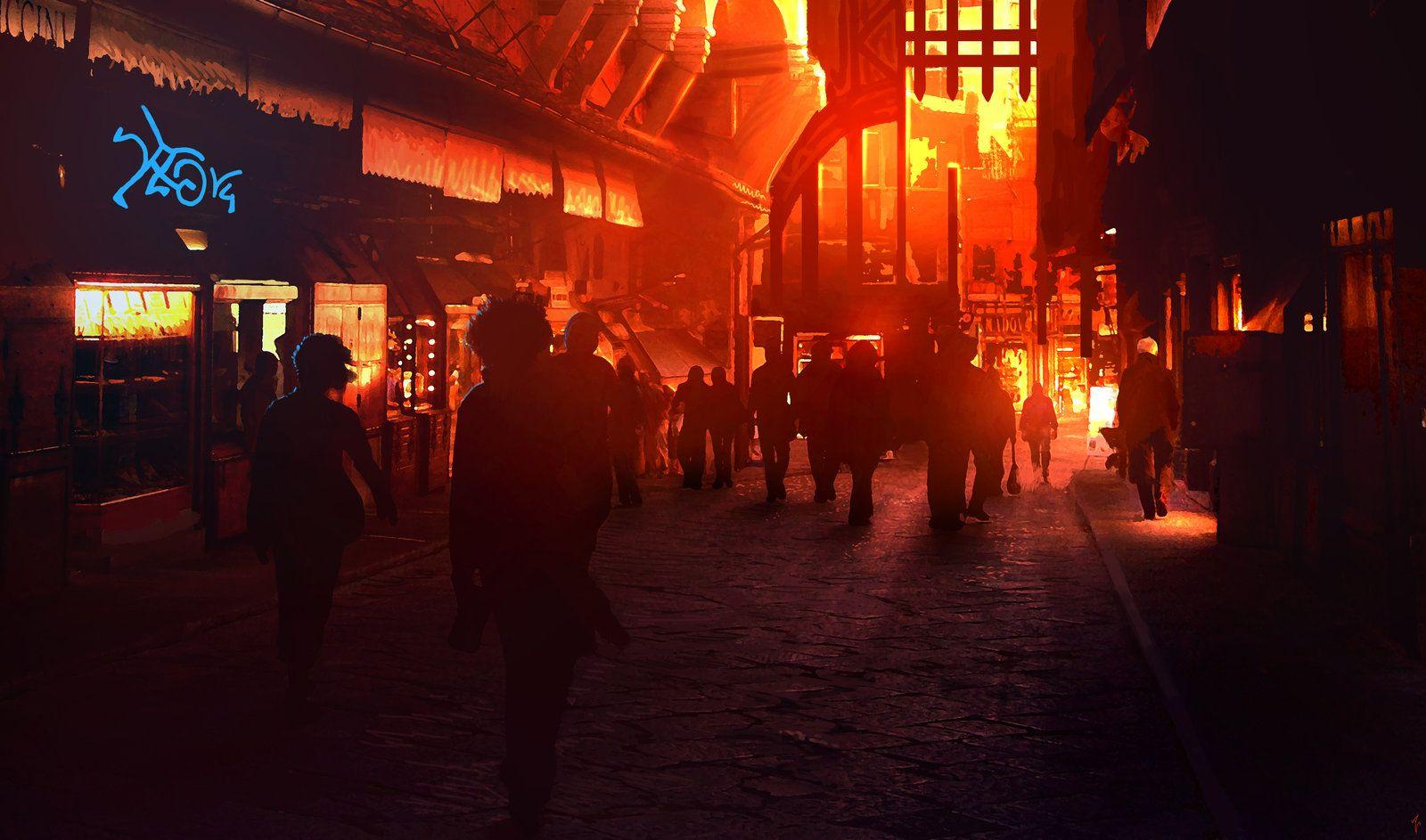 Lower Level Neon Lava Orange Aesthetic Cyberpunk Aesthetic City Aesthetic Dark City