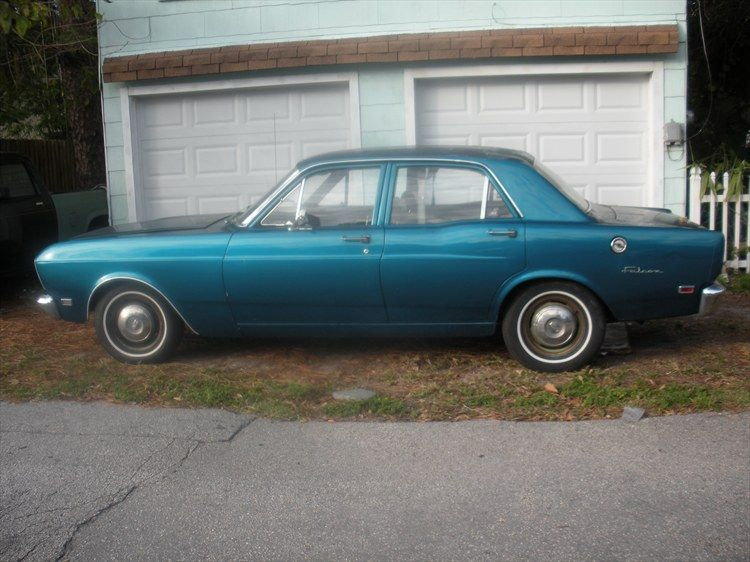 My first car, a 1969 four door Ford Falcon  No power
