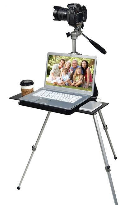 TriPad :  camera tripod + laptop desk.   I know a few friends who would love this