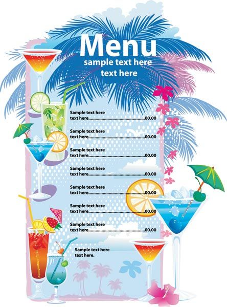 Menu Vector Template Download Alcoholic Drinks Menu Vector Template