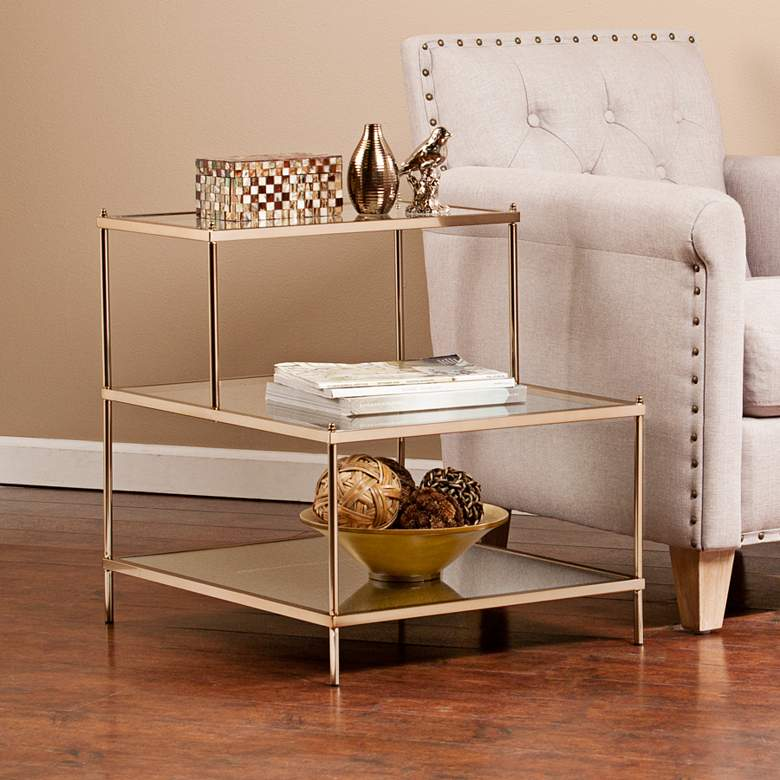 Knox 20 1 2 Wide 3 Tier Gold And Glass Accent Table 39g99 Lamps Plus Gold Accent Table Glass Accent Tables Iron Accent Table