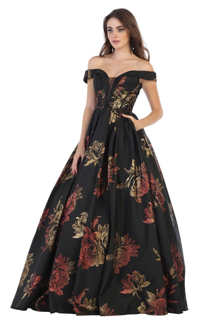 959886e97d Long Floral Print Plus Size Prom Formal Ball Gown in 2019