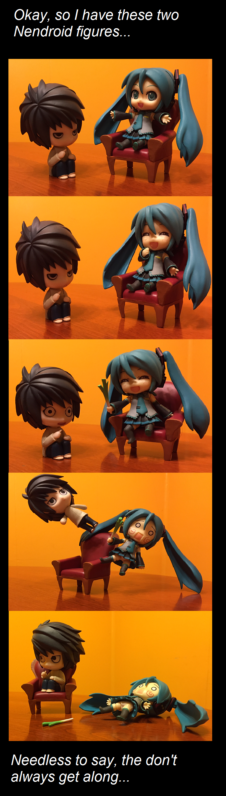 L and Hatsune Miku XD I made this myself, so I hope you like it! (These are my only two Nendroid figures at the moment...)