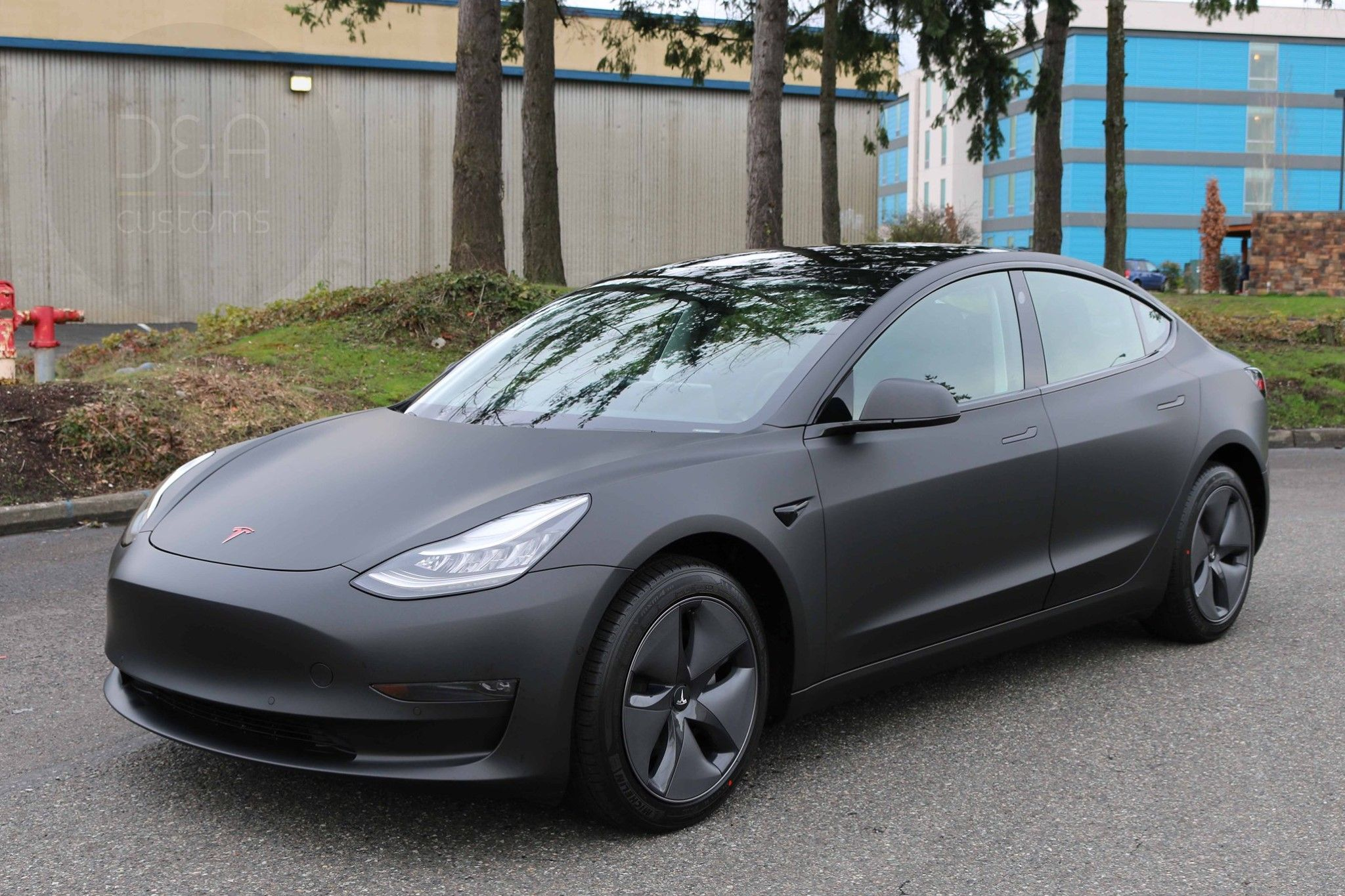 2020 Tesla Model 3 Full Wrap Matte Black Metallic And Full Chrome Delete Package With Gloss Black Tesla Model Tesla Commercial Window Tinting