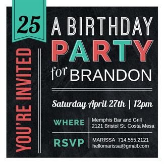 American diner style printable invitation template customize add free printable birthday invitation templates for him stopboris Choice Image