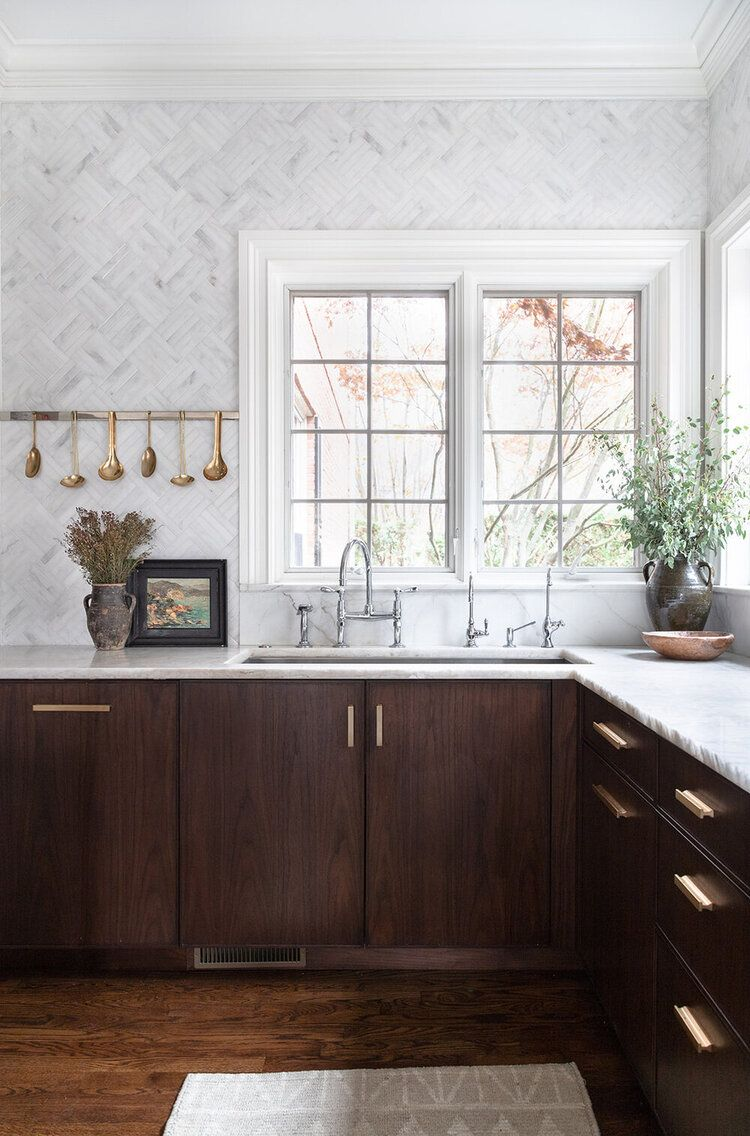 Home Tour Haus Love S Sycamore Springs Colonial Project Scout Nimble Dark Wood Kitchens Walnut Kitchen Cabinets Kitchen Interior