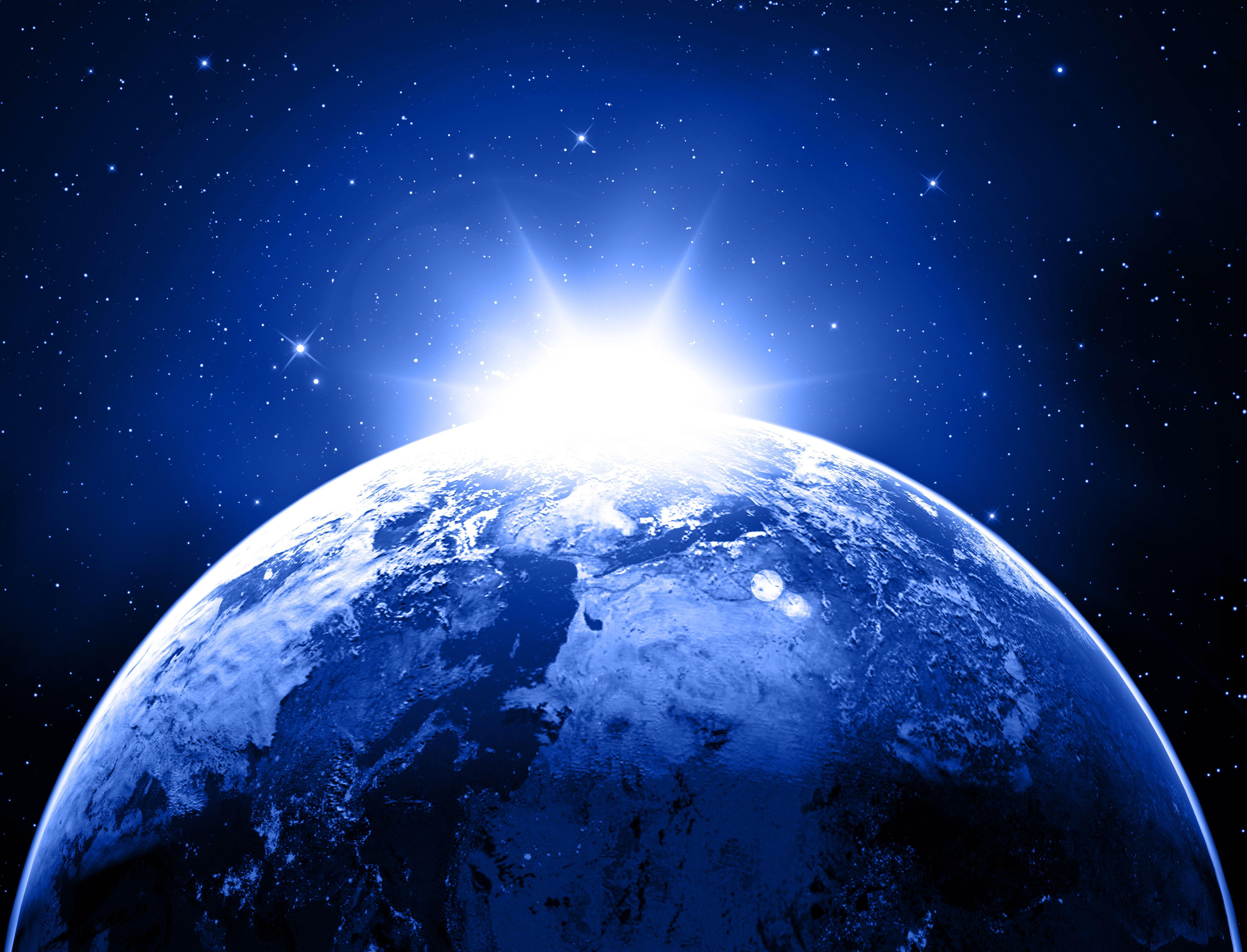 Earth Planet Stars Space Sunlight G Wallpaper