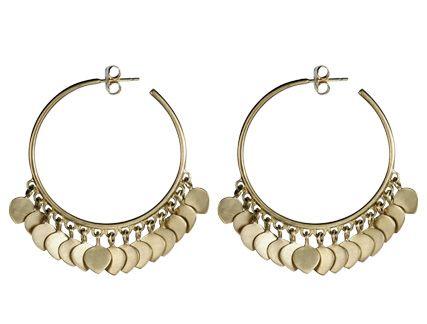 Me&Ro 10K Gold Medium Hoop Earrings with Lotus Petals