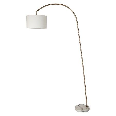 Shaded arc floor lamp with marble base brass threshold target