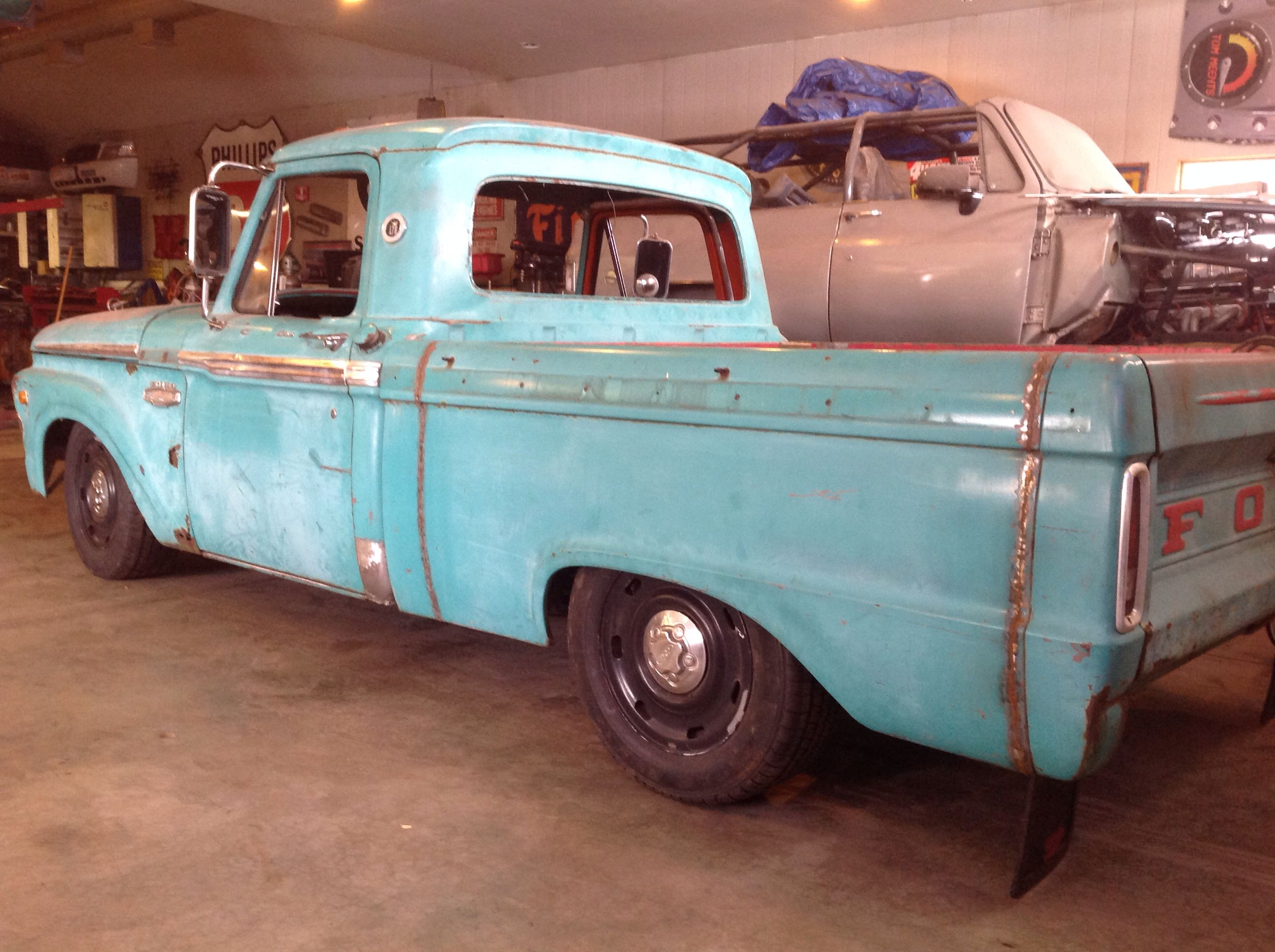 Cut Down Long Bed To Short 1966 F100 Crown Vic Body Swap 1964 Ford Rat Rod Rods