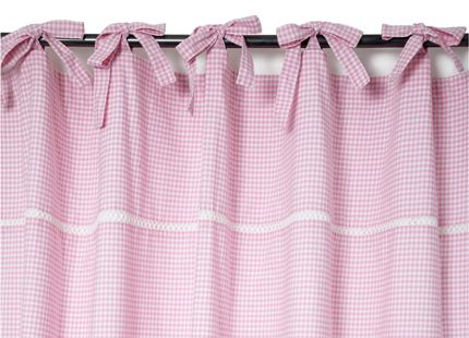 Gingham Tie Top Ready Made Curtains