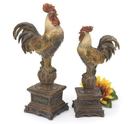 Great Set Of 2 Tall French Country Rooster Figurines/Statues Decorative Roosters
