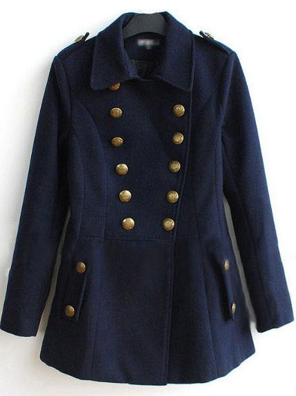 Navy Double Breasted Military Wool-blend Short Coat - Sheinside ...