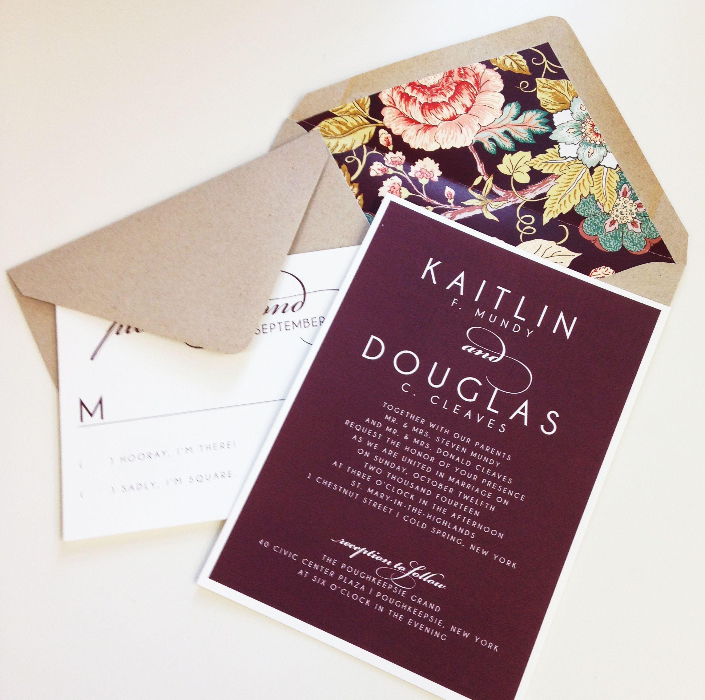 Vintage Fl Wedding Invitation Burgundy Kraft Envelope Liner