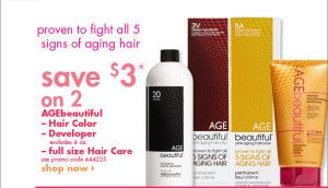 $3 off 2 full sized AGEbeautiful haircare, hair color or developer!