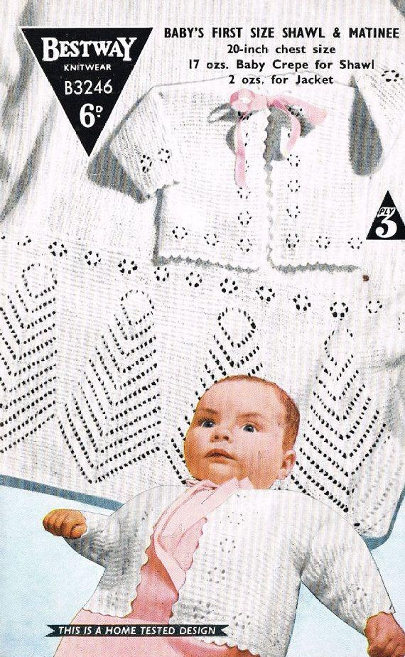 Bestway 3246 baby matinee coat set and shawl vintage knitting ...