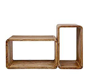 Set de 2 cubos modulares en madera de sheesham Authentico - rectangular
