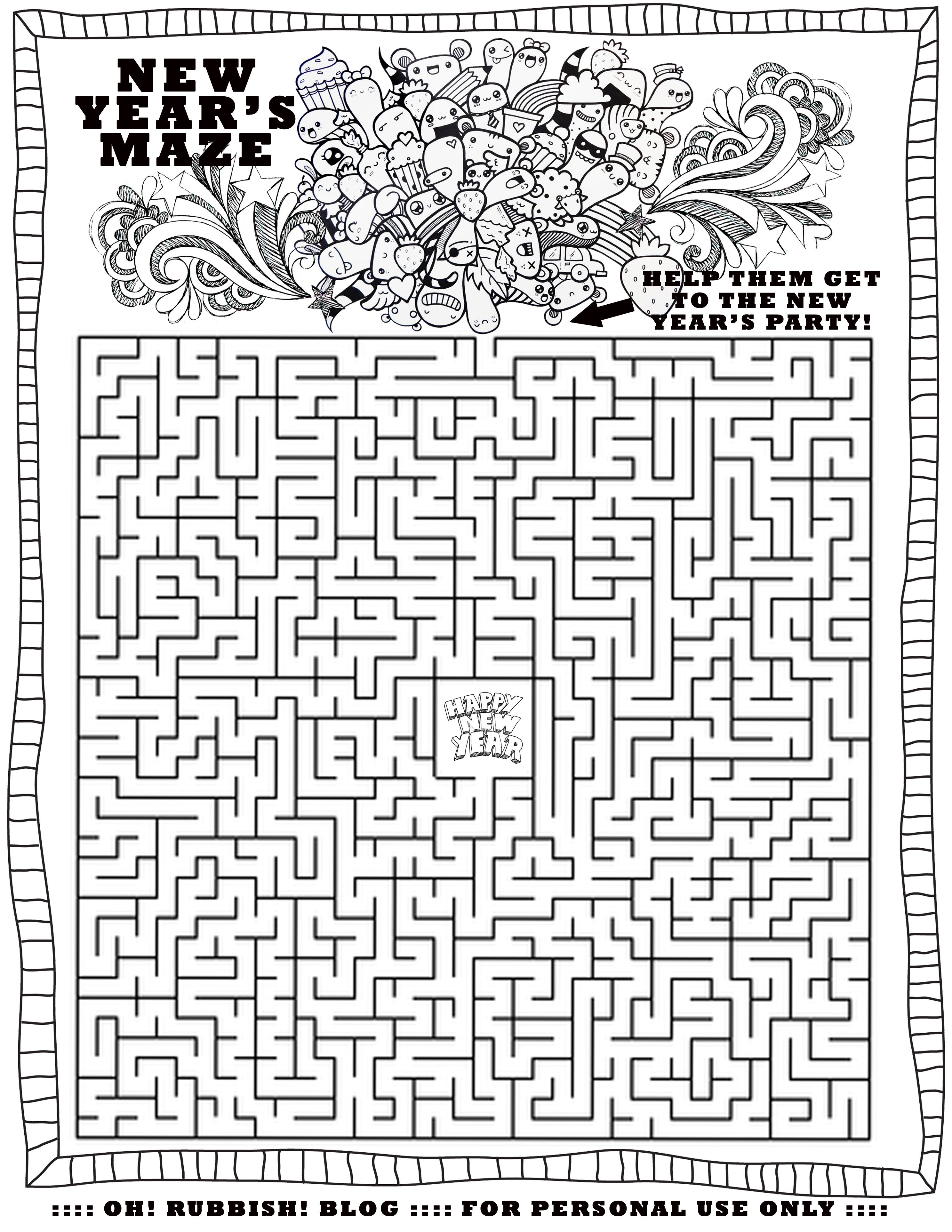 Happy New Year Maze by oh rubbish blog Misc Pinterest