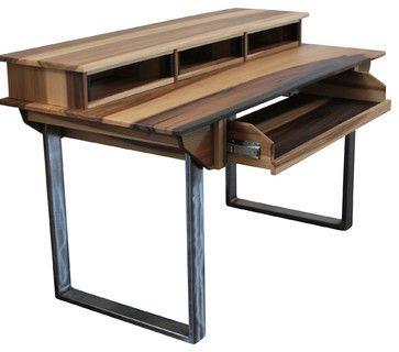 Studio Desk For Audio Video Film Graphic Design Small 49key 64w X 32d X Modern Computer Furniture Modern Small Desk Modern Desk Studio Desk