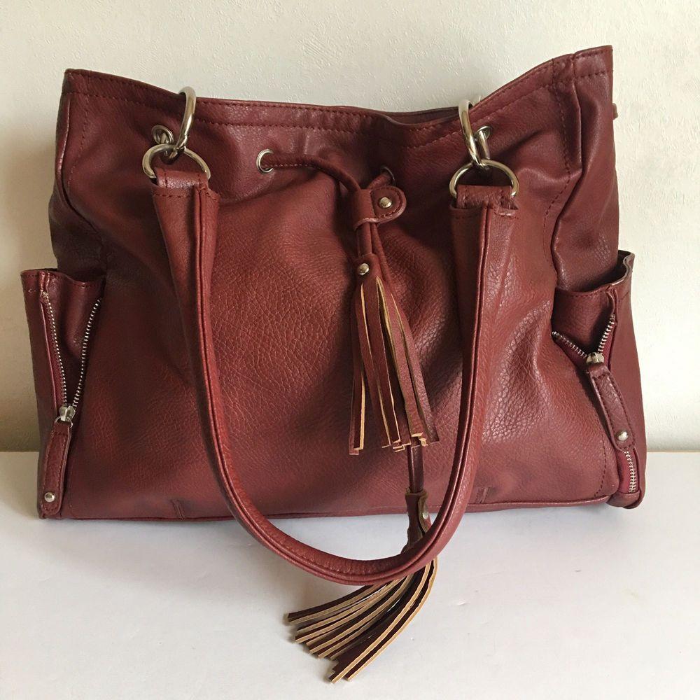 Faux Leather Handbag Purse Burgundy Black Rivet Shoulder Strap Blackrivet Shoulderbag