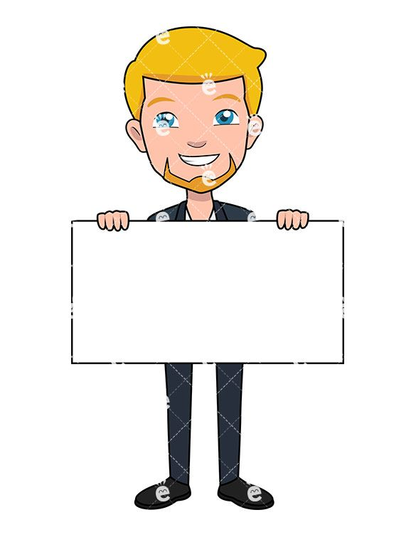 a businessman holding a blank piece of poster board friendlystock