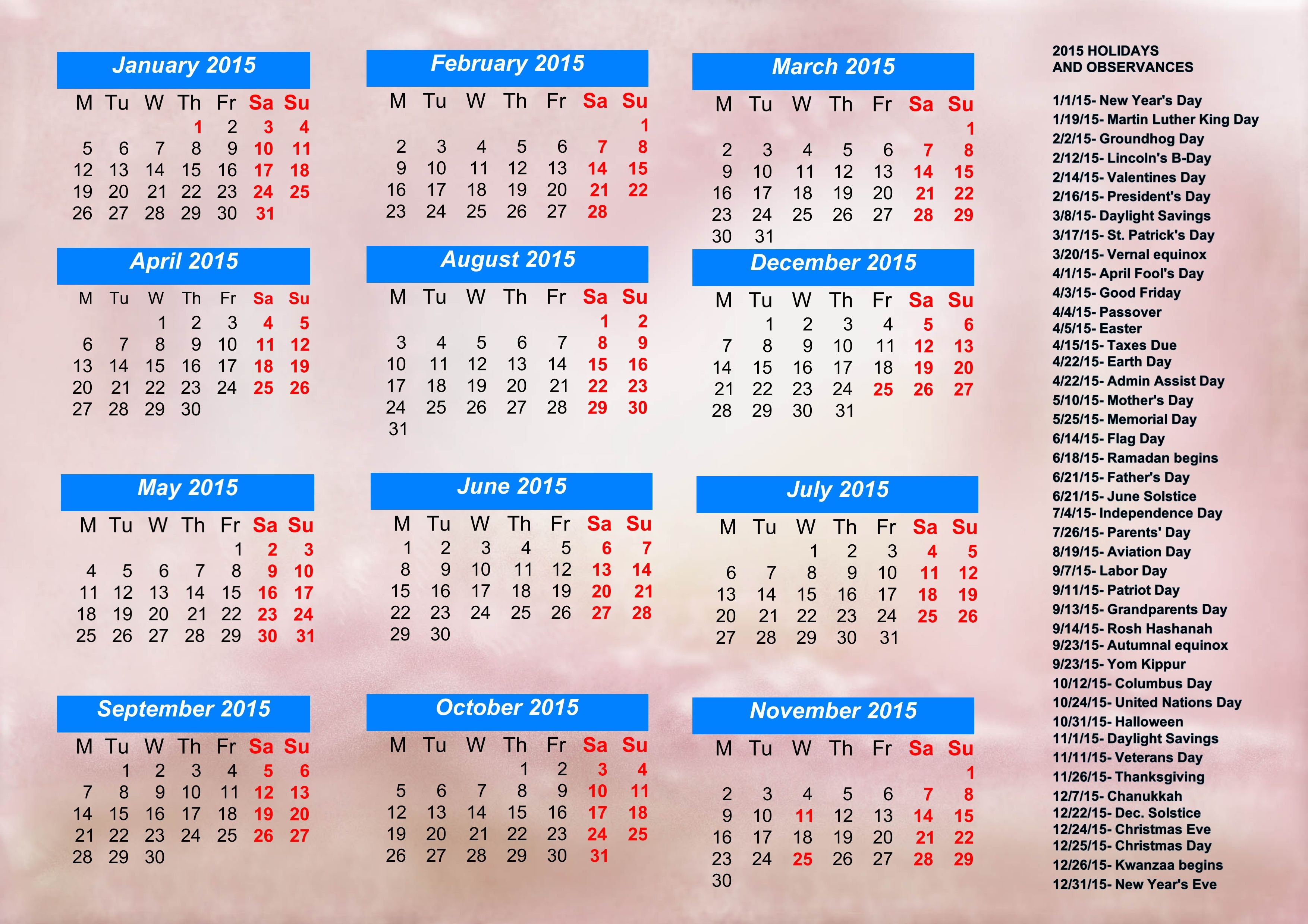 free printable calendars 2015 with holidays