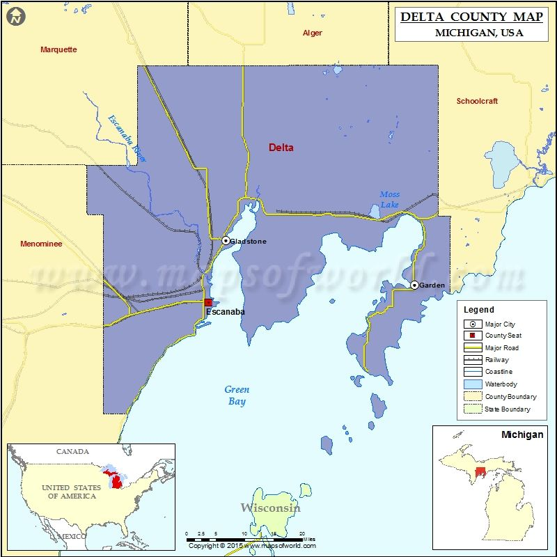 Michigan On Usa Map.Delta County Map Michigan Usa Maps County Map Map Michigan