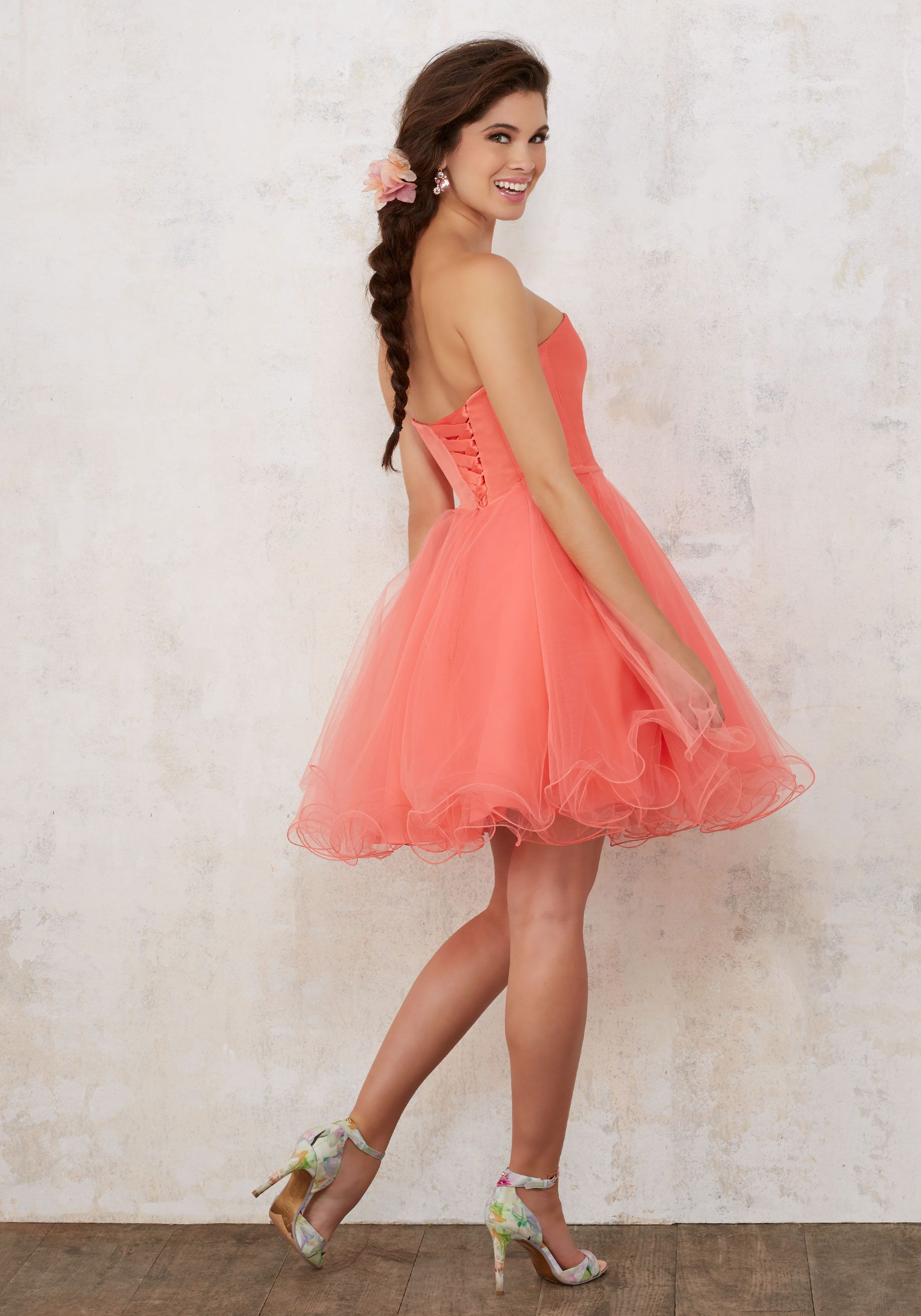 Satin and tulle damas dress with beading damas style