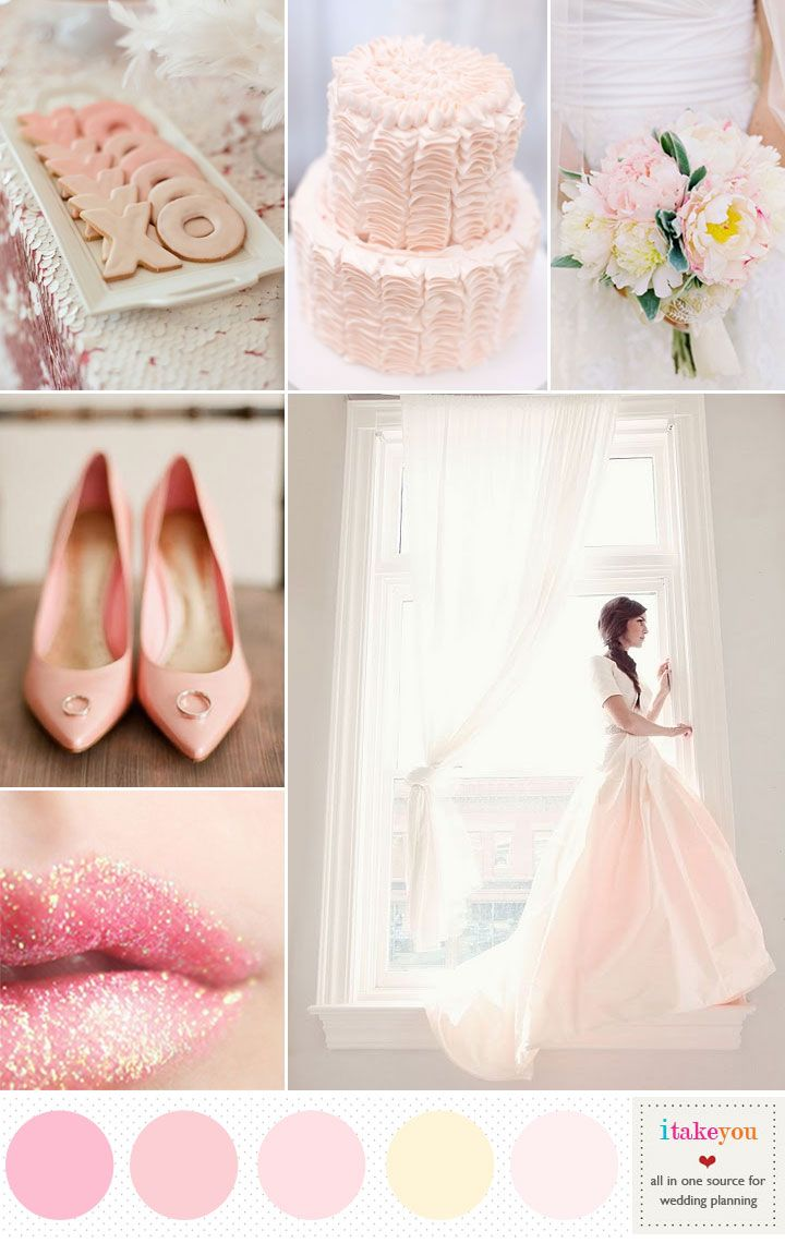 Romantic blush pink wedding colours palette | Blush Pink and Gold ...