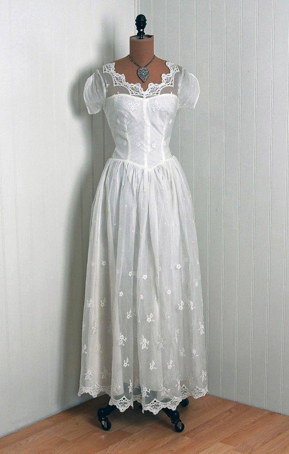 1930\'s Antique Vintage Crisp-White Embroidered Floral-Garden Sheer ...