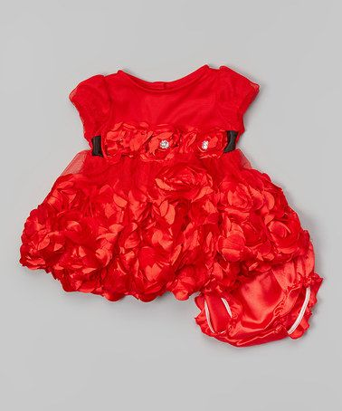 Another great find on #zulily! Red Ruffle Dress & Diaper Cover - Infant #zulilyfinds