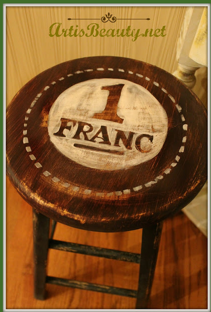 Dumpster Dive Barstool turned FRENCH stand