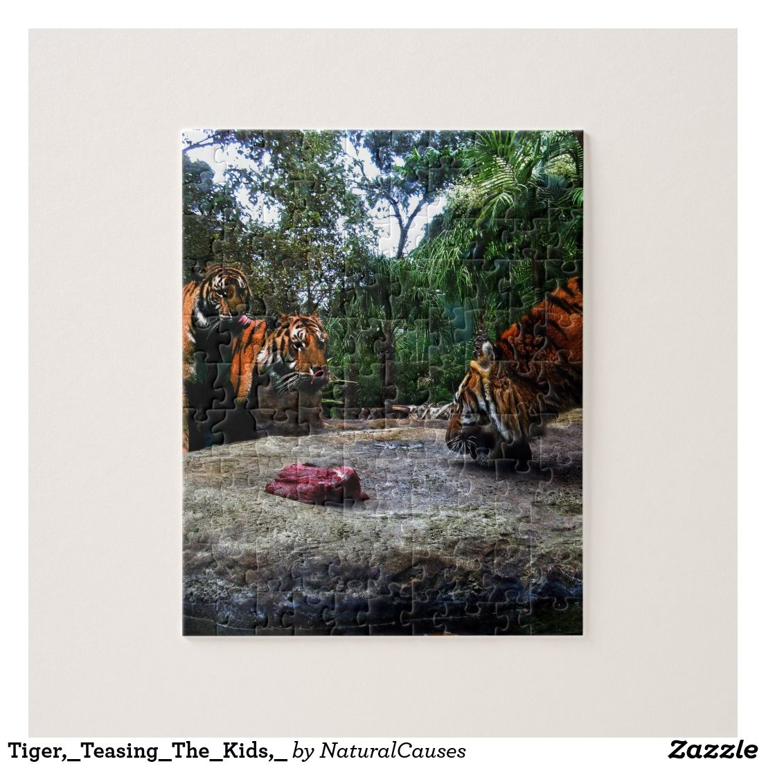 Bengal Tiger Teasing The Kids, Jigsaw Puzzle