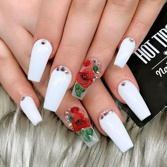 The Most Stylish Ideas For White Coffin Nails Design ...