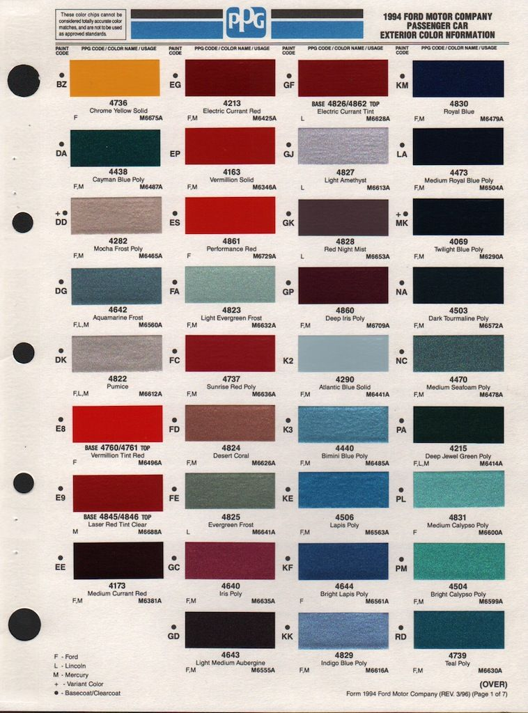 Ford Exterior Paint Codes Part - 19: Paint Chips 1994 Ford Aerostar